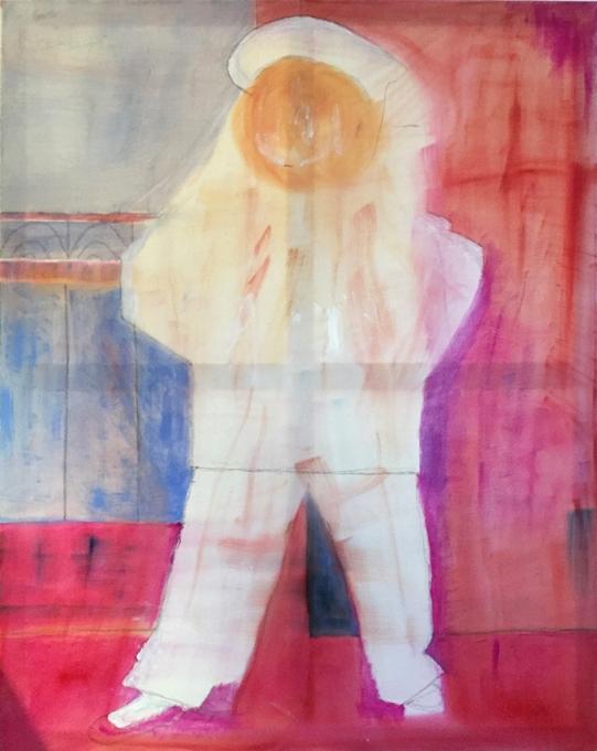 """Renate lässt sich von einem Werk Picassos mit dem Titel """"Paulo als Pierrot"""" von 1925 inspirieren. Ihre Malerei entsteht in einer Öllasur auf Leinwand (80 x 100 cm). Dabei lernt sie toll die Technik der Farbschichtung. Renate malt seit fünf Jahren in unserer Kunstschule und ist nach wie vor mit großer Freude dabei!"""
